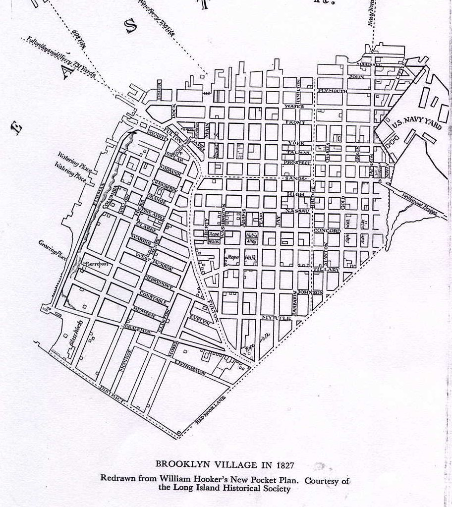 1827 Map of Brooklyn Village by Stiles