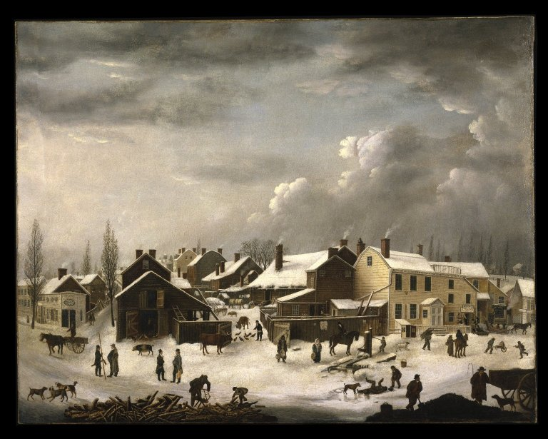 Francis Guy's Brooklyn in Winter on exhibit at the Brooklyn Museum
