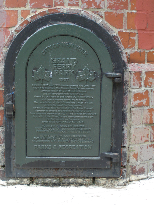 Plaque at Grand Ferry Park on the smokestack