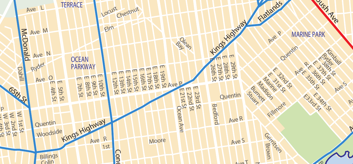 Map Showing Kings Highway as a mandated local trucking route